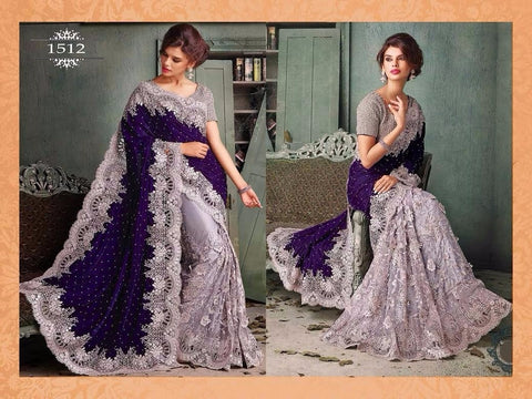 Blue and Grey Velvet Pallu Bollywood Sarees Online ,Indian Dresses - 1