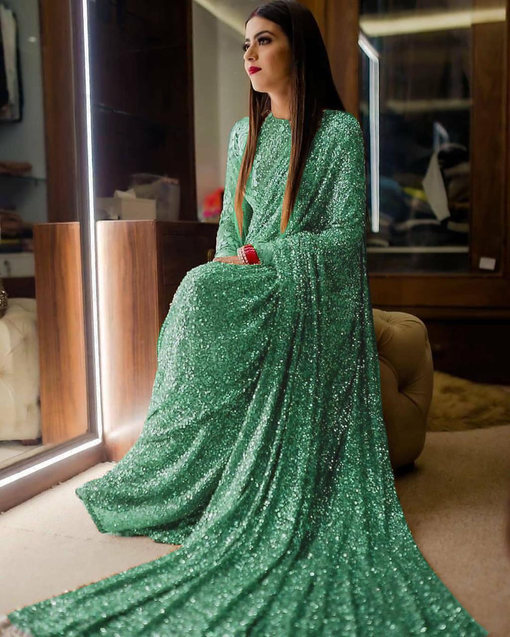 Green Sequins In Georgette Ladies Sarees Online Shopping India