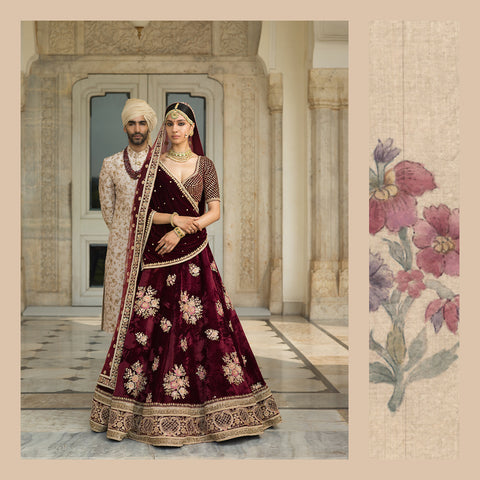 Deep Maroon Sisters of The Bride Lehenga Choli Online India