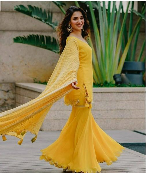 Yellow Sharara Suits Latest Bollywood Style Indian Dresses