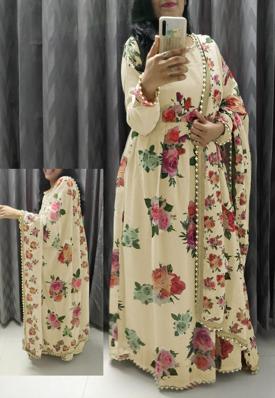 Cream Georgette Floral Print Gown Style Latest Salwar Suit Design