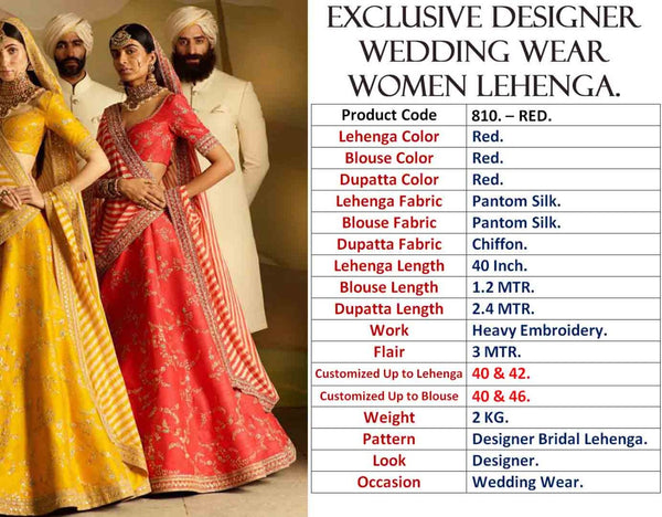 Red Silk Embroidery Latest Lehenga Choli Design