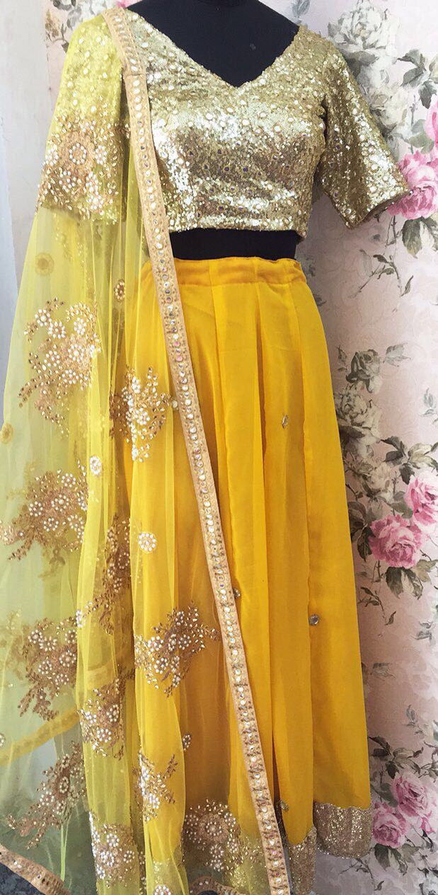 Groovy Yellow Georgette Online Lehenga Shopping India ,Indian Dresses - 1