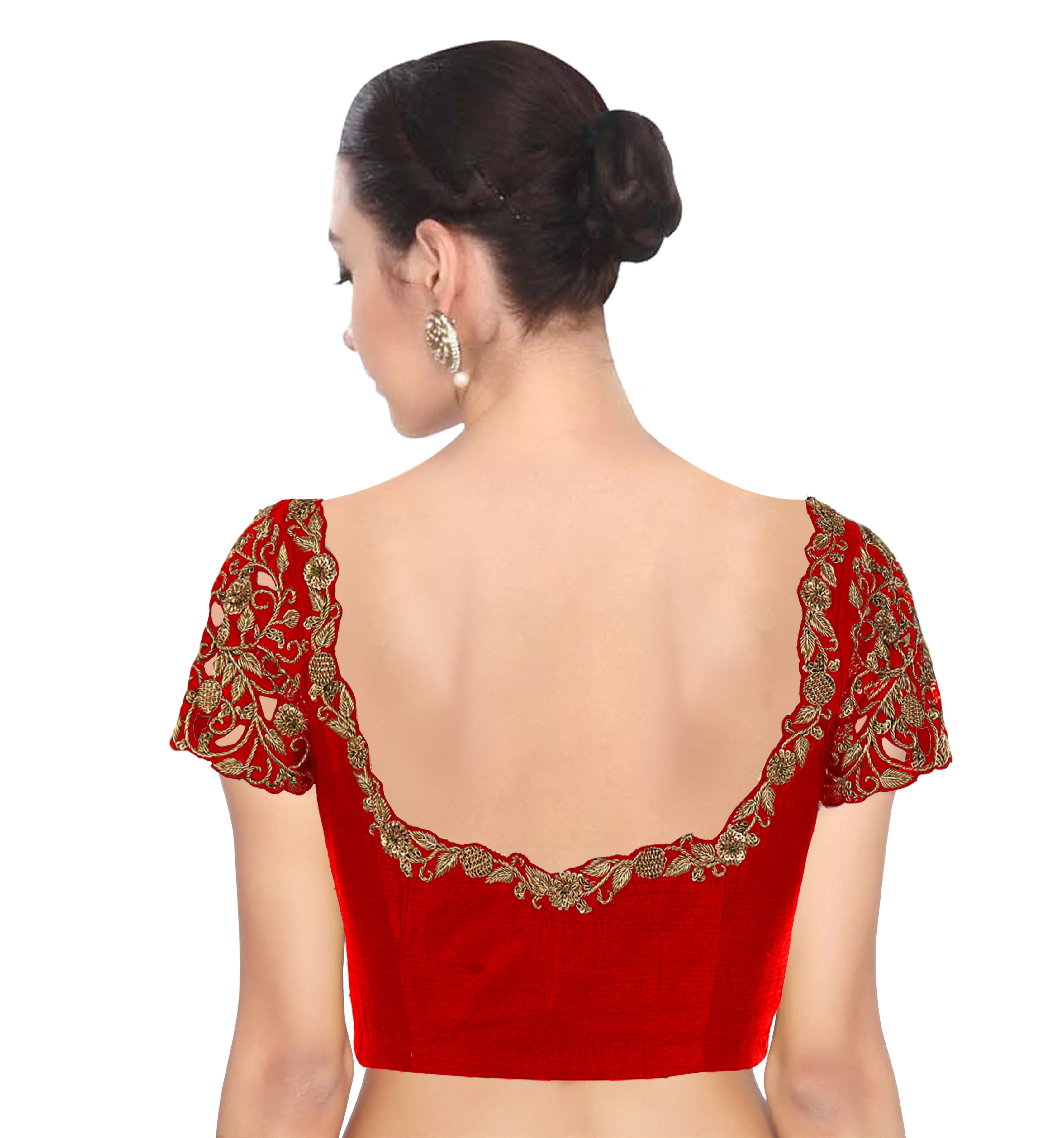 Red Fancy Designer Saree Blouse Online Shopping
