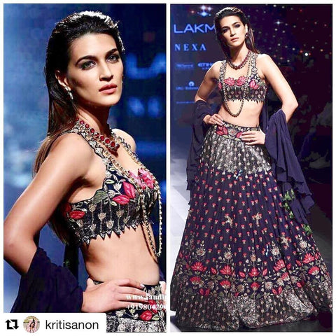 Kriti Sanon Navy Blue Bollywood Fashion Lehenga Choli Online