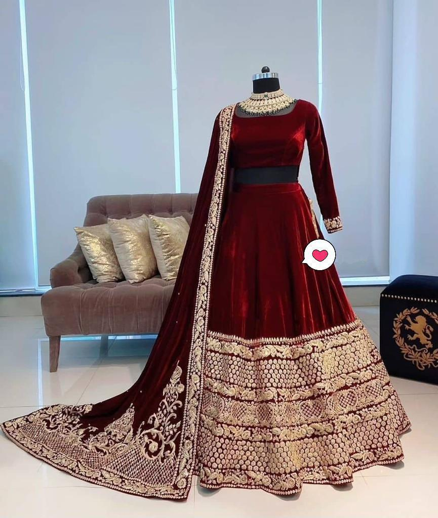 Maroon Viscose Velvet Embroidered Latest Lehenga Choli Online Buy