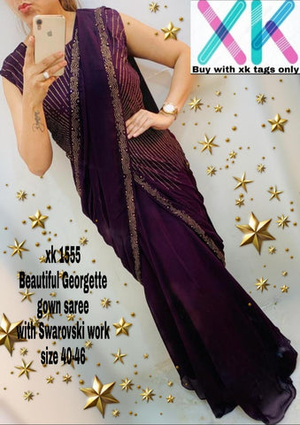 Purple Georgette Ready To Wear Saree For Party Wear
