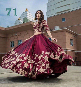 Burgundy Embroidered Taffeta Party Wear New Lehenga Choli Designs