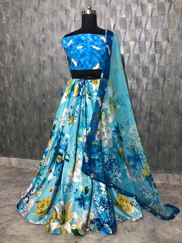 Katrina Kaif Blue Floral Printed Crepe Silk Bollywood Lehenga Crop Top