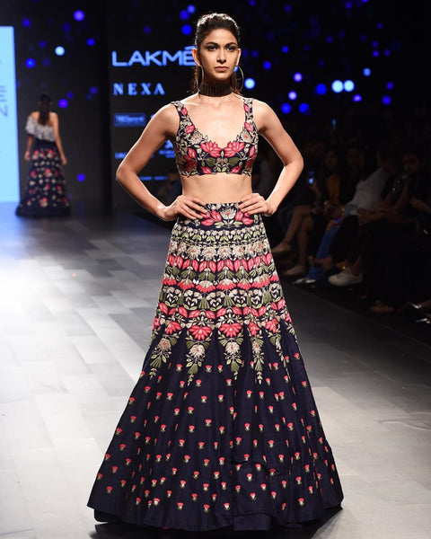 Navy Blue Velvet Resham, Zari Embroidered Bridesmaids Lehenga