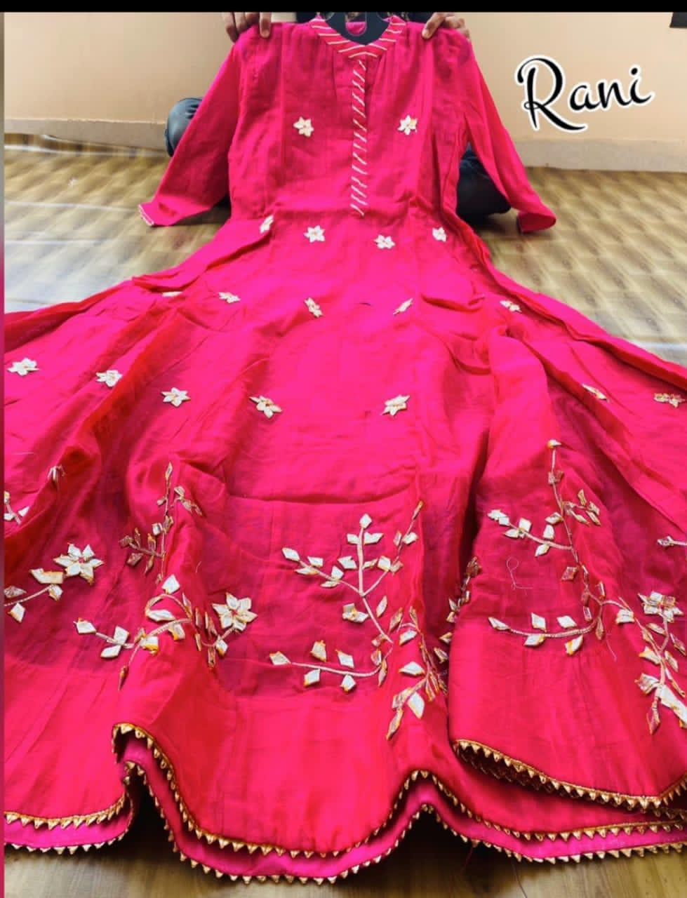 Pink Chanderi Gota Work Long Anarkali Style Gown Online
