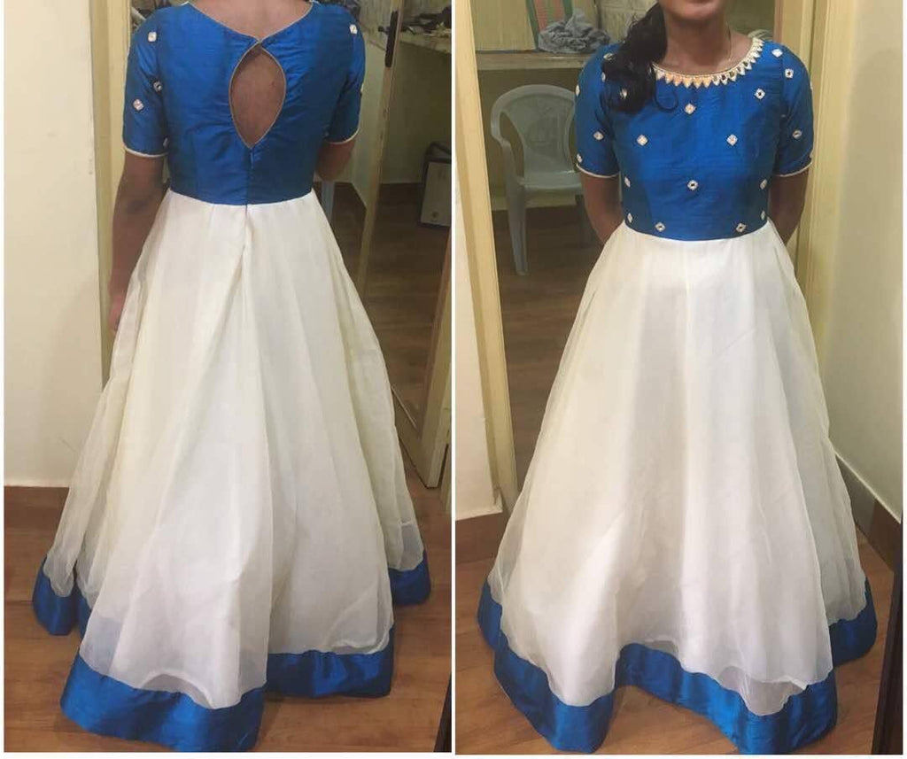 Blue  White Indo Western Gown Online India