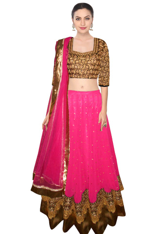 Charming Pink Bollywood Designer Wedding Lehenga ,Indian Dresses - 2