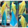 Yellow And Blue Designer Bollywood Sarees Online ,Indian Dresses - 2