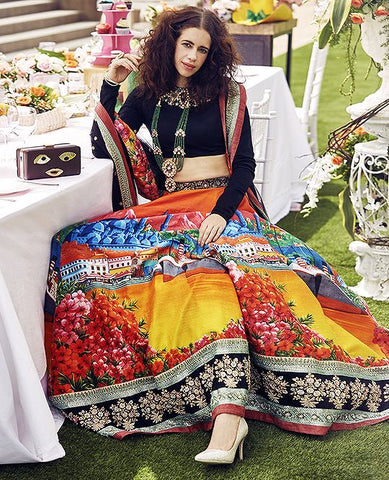 Multi Color Silk Party Wear Lehenga Choli Online Shopping