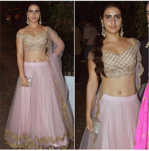 Light Pink Net Bollywood Replica Lehenga Online India