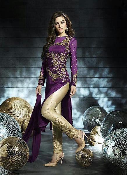 Purple Net Straight Cut Churidar Salwar Kameez ,Indian Dresses
