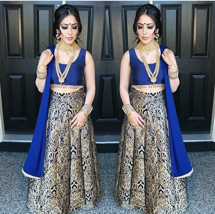 Blue Brocade Bollywood Indian Lehenga Choli Designs