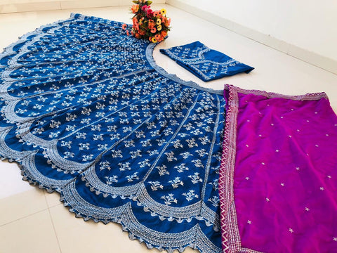Blue Banglori Embroidered New Indian Party Dress Lehengas India Online Shop