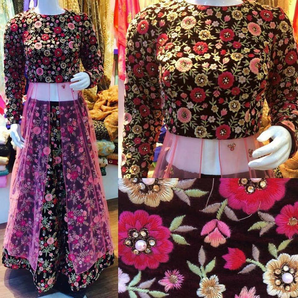 Beautiful Floral Velvet Wedding Dresses At Indiandresses.co