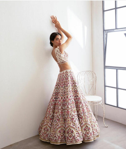 White Taffeta Silk Embroidered Latest Indian Party Lehenga Cholis