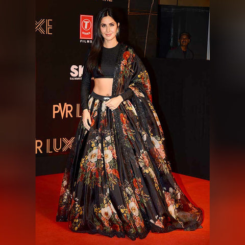 Katrina Kaif Black Organza Latest Bollywood Fashion Lehenga Online