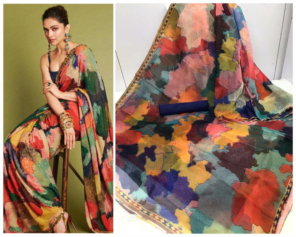 Deepika Multi color Digital Printed Latest Organza Saree and Blouse Set
