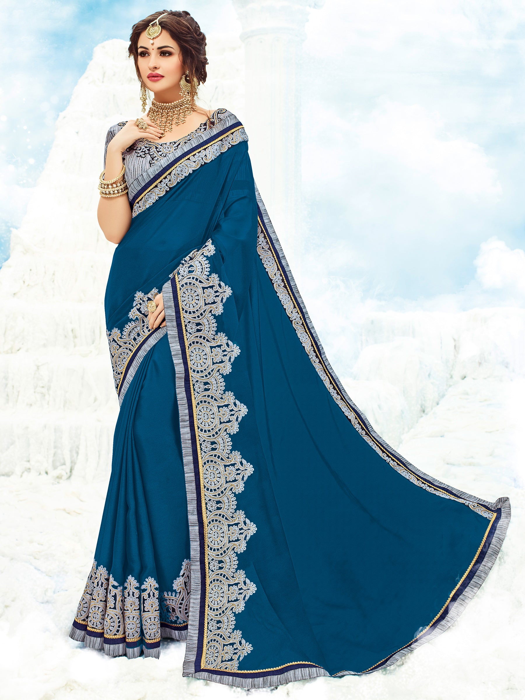 Yale Blue Georgette Online Saree Shopping India
