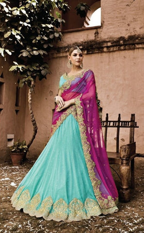 Turquoise Georgette Bridal Lehenga Choli ,Indian Dresses - 1
