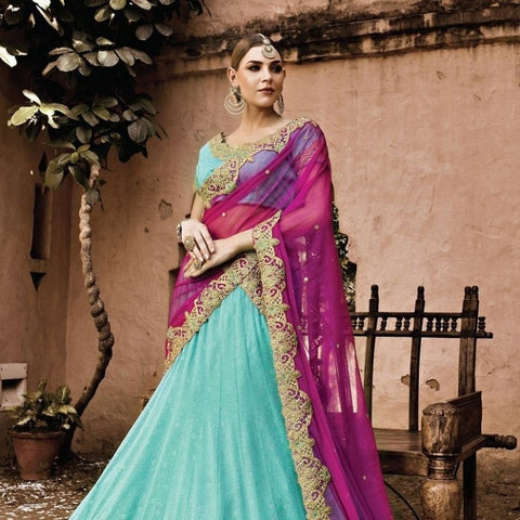 Turquoise Georgette Bridal Lehenga Choli ,Indian Dresses - 2