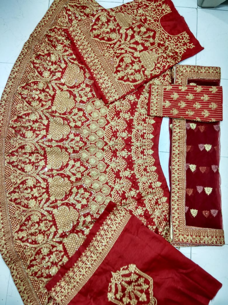 Red Satin Embroidery Latest Bridal Lehenga And Long Choli Online Shop