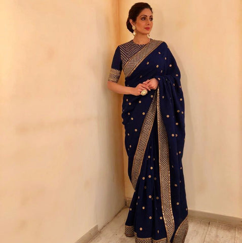 Navy Blue Georgette Bolywood Replica Indian Sarees Online In India