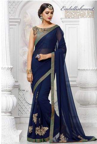 Navy Blue Georgette Designer Saree Online Shopping India