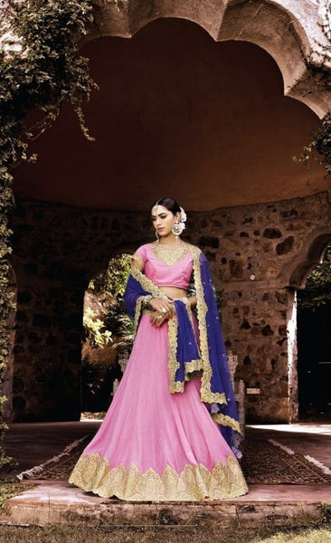 Rose Pink Georgette Bridal Lehenga Choli ,Indian Dresses - 1
