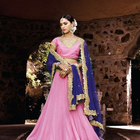 Rose Pink Georgette Bridal Lehenga Choli ,Indian Dresses - 2
