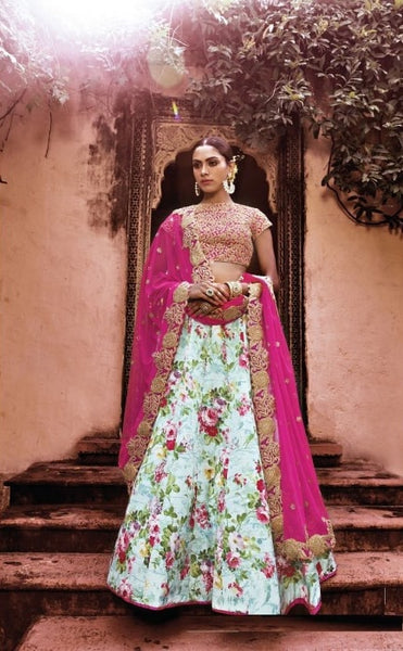 Multicolor Floral Print Indian Lehenga Choli ,Indian Dresses - 1