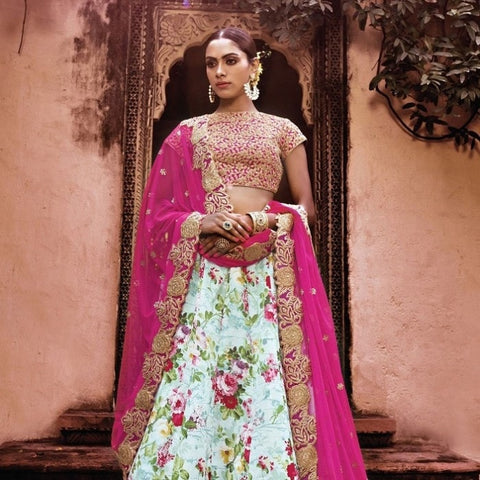Multicolor Floral Print Indian Lehenga Choli ,Indian Dresses - 2
