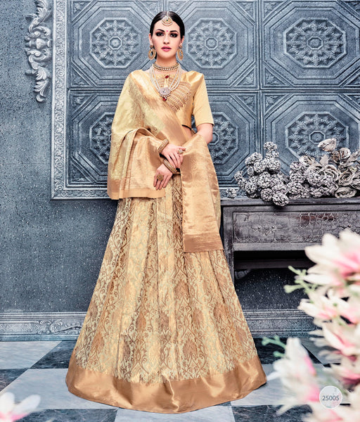 Beige Banarsi Wedding Lehenga Choli Designs Online