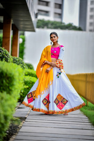 White Cotton Patch Work Navratri Chaniya Choli Online Shopping