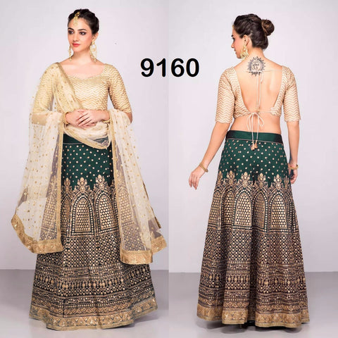 Green Banglori Silk Bollywood Lehenga Choli Online Shopping