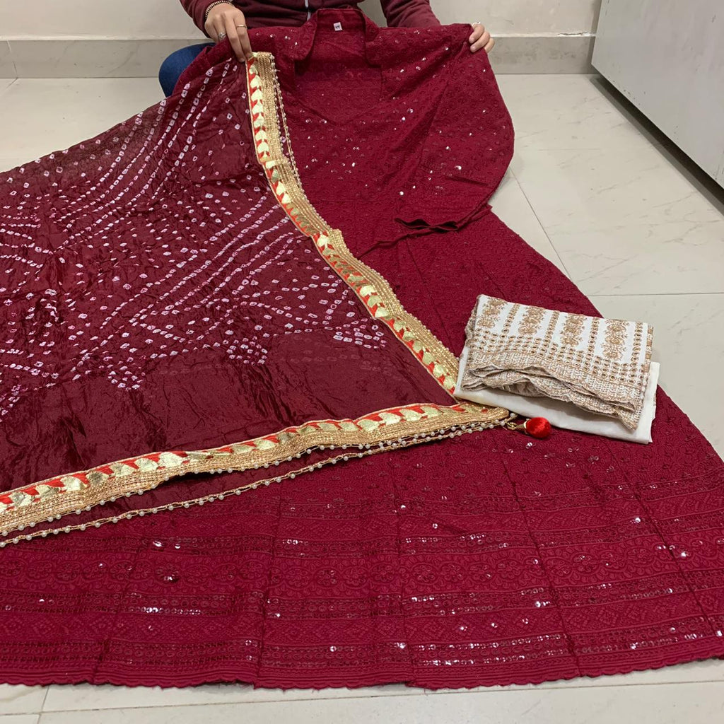 Maroon Cotton Anarkali Palazzo With Silk Bandhani Dupatta