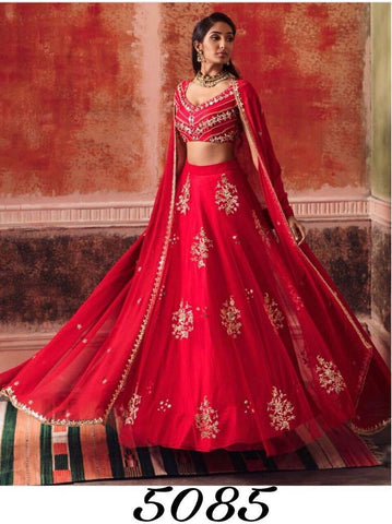 Red Georgette Embroidered Latest Party Wear Indian Ghagra Choli Online