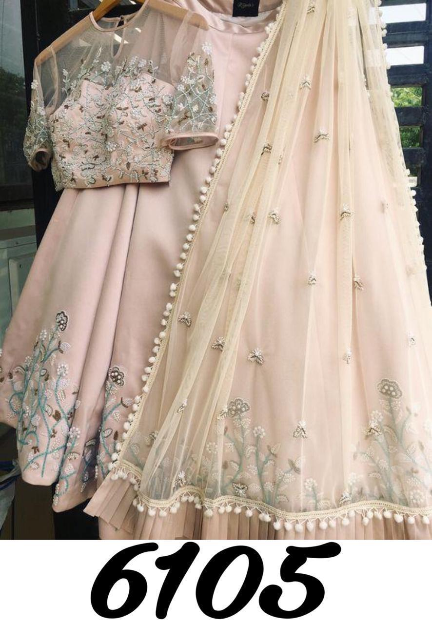 Light Beige Japan Silk Embroidered Latest Lehenga Choli Designs For Party Wear
