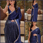 Beautiful Navy Blue color Net Saree with Pallu in Silk and Satin Blouse designer sarees with price