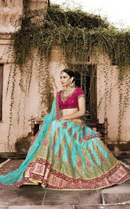 Turquoise Georgette Wedding Ghagra Choli Online Shopping ,Indian Dresses - 1