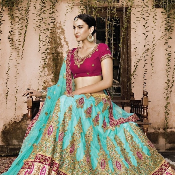 Turquoise Georgette Wedding Ghagra Choli Online Shopping ,Indian Dresses - 2
