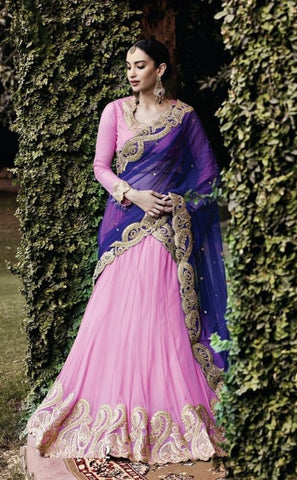 Rose Pink Net Buy Designer Lehenga Online ,Indian Dresses - 1