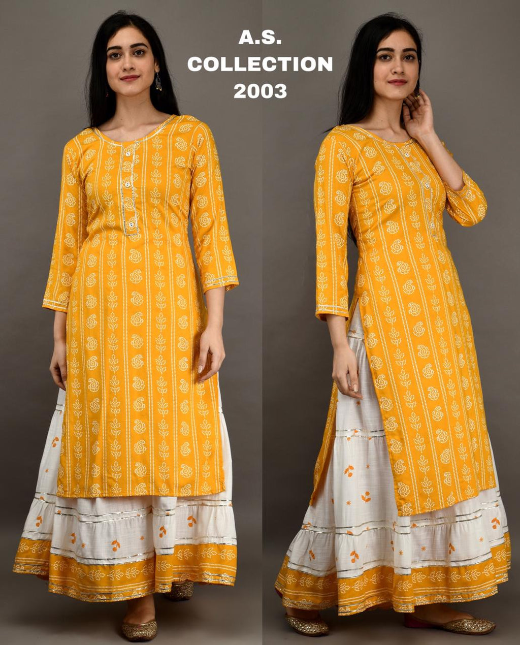 Rutba Khan Yellow Cotton Printed New Kurti Skirts Suit Kameez Online Shop