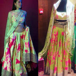Green Satin Print Bollywood Designer Lehengas