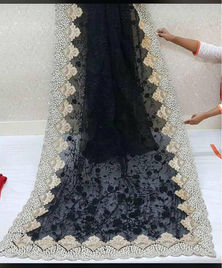 Elegant Net With Pearl and Stone Work Party Saree Online Shopping